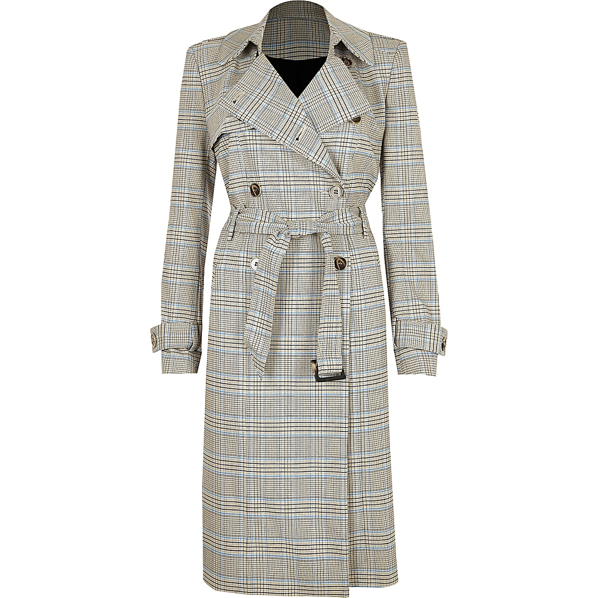 Grey Check Trench Coat