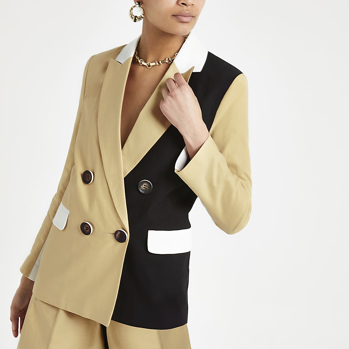 Light brown block double breasted blazer