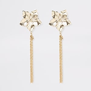 Gold color flower chain drop earrings