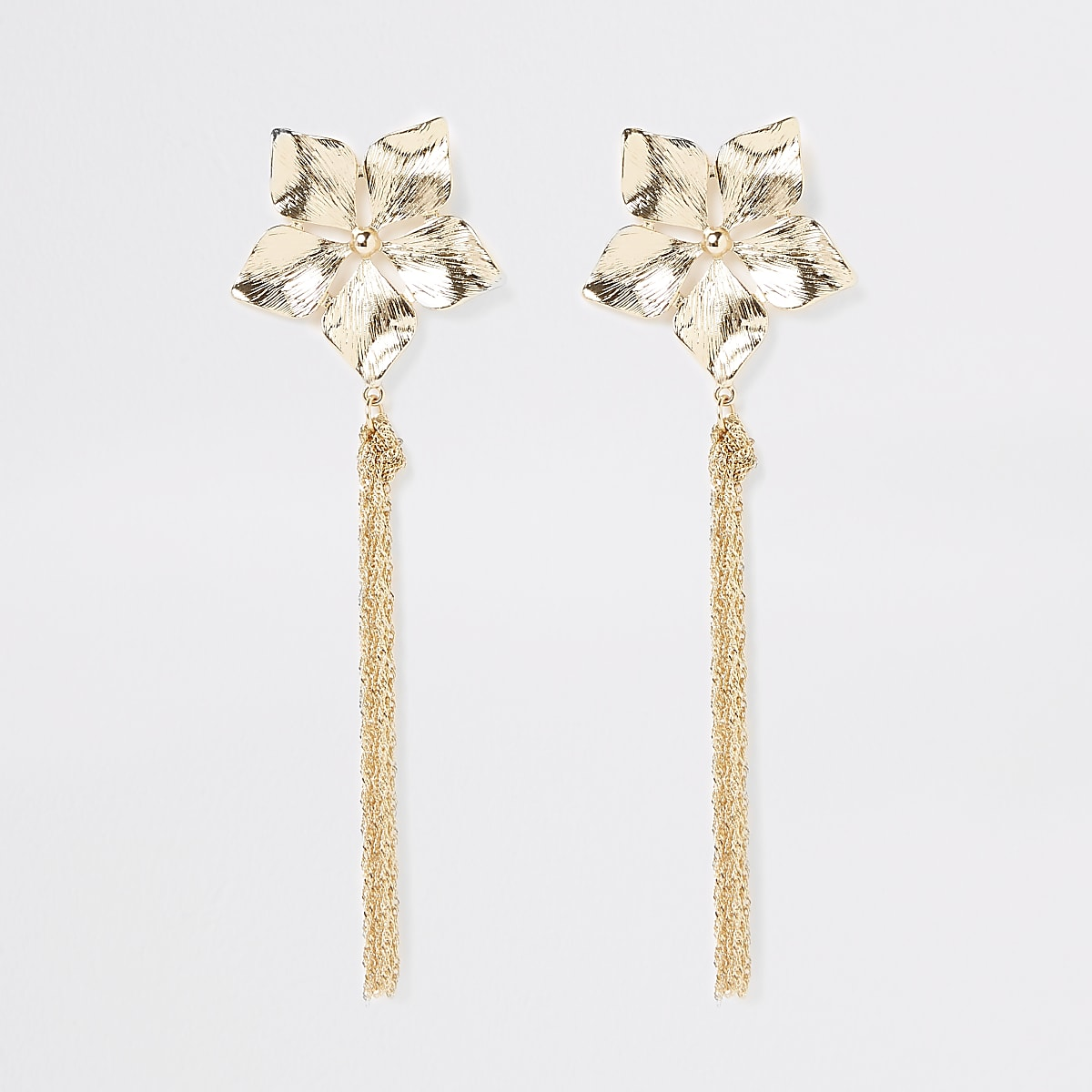 Gold colour flower chain drop earrings