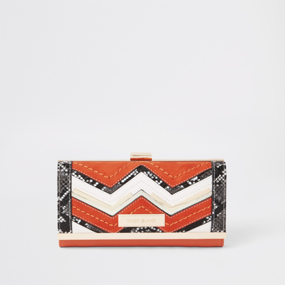 Oranje portemonnee met slangenprint en druksluiting