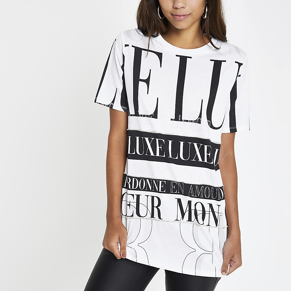 White print diamante boyfriend T-shirt