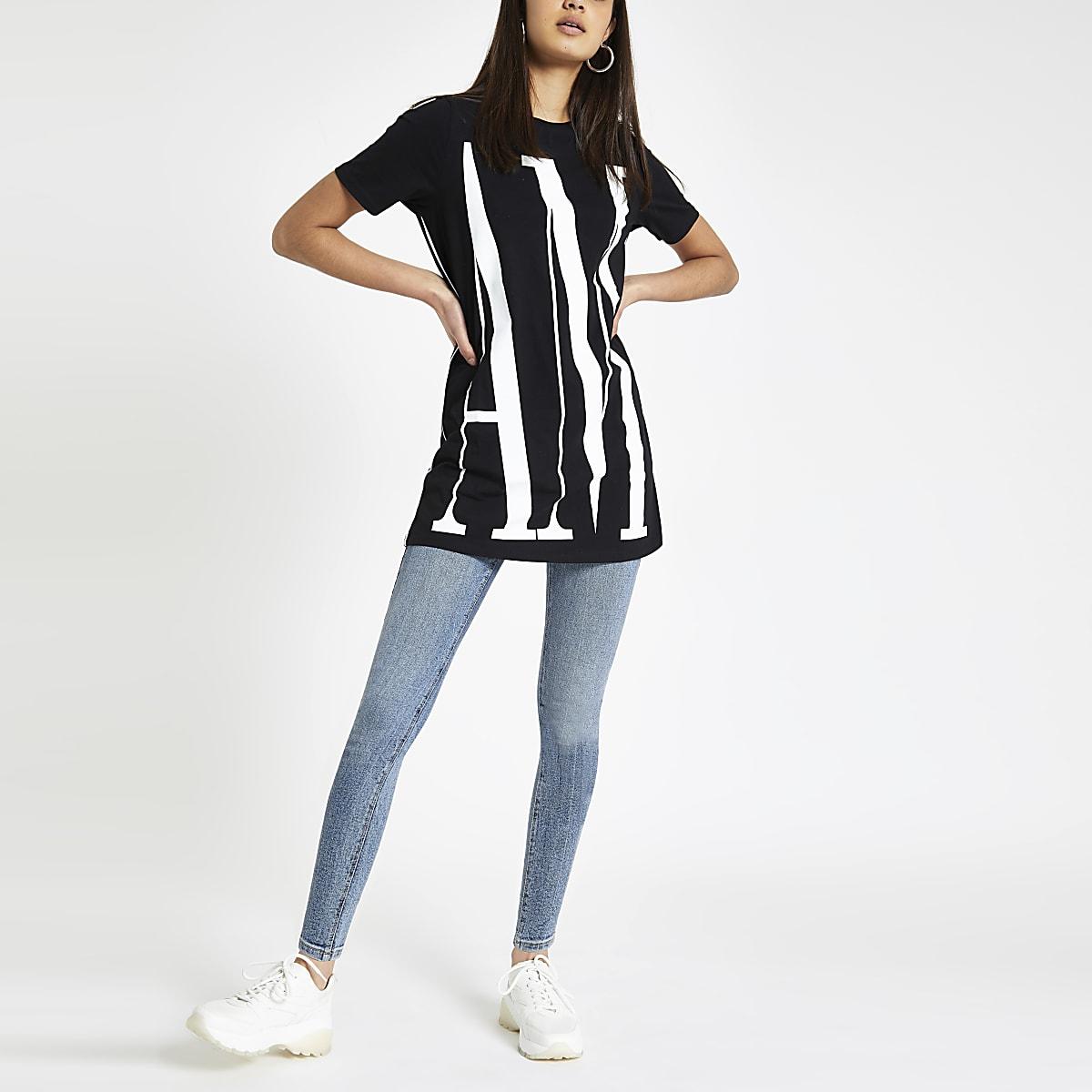 Zwart jumbo T-shirt met 'Amour'-print op de rug