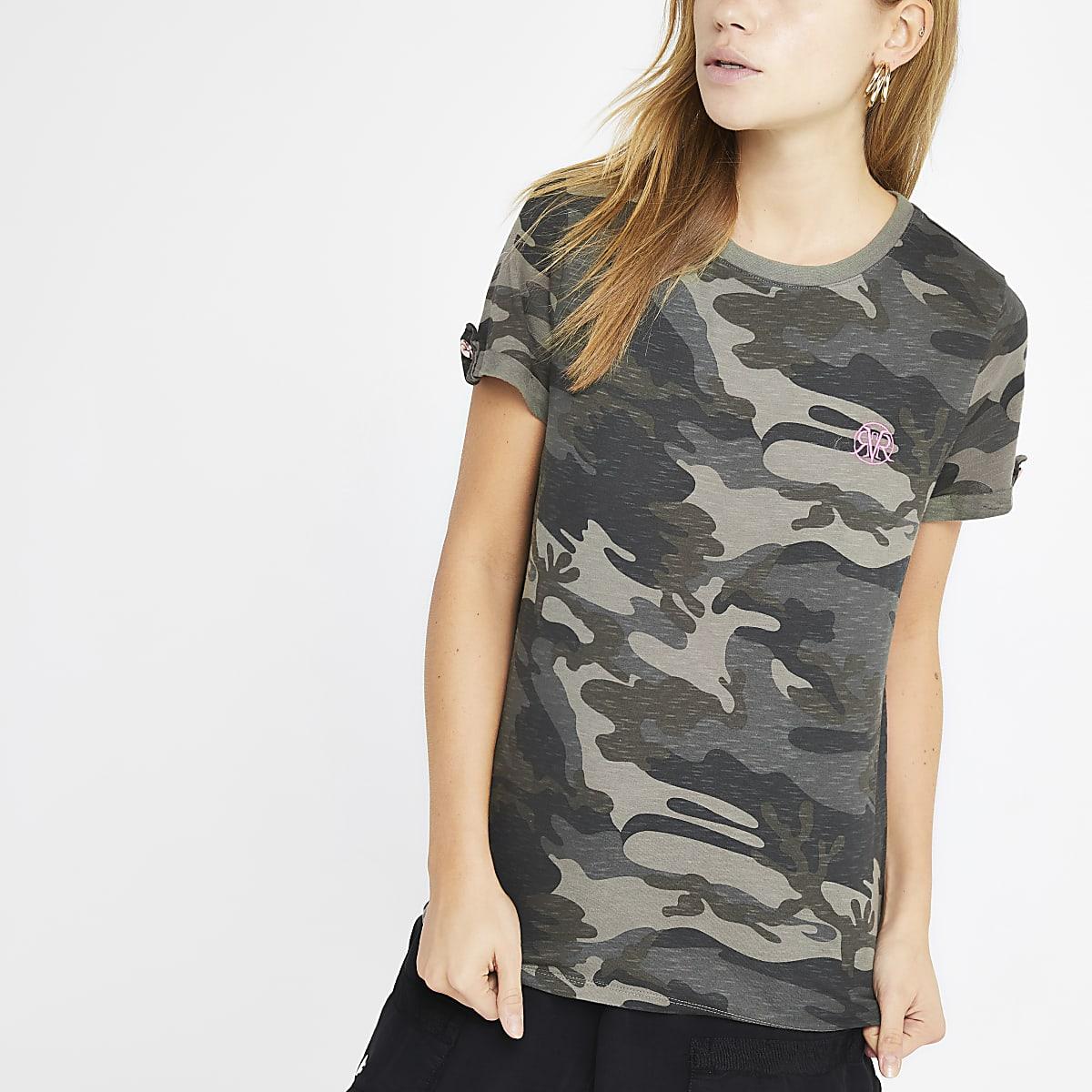 1f77fafbcbd5b Green camo print rolled sleeve T-shirt - T-Shirts - Tops - women