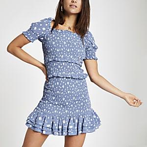 Petite – Mini-jupe à pois bleue froncée