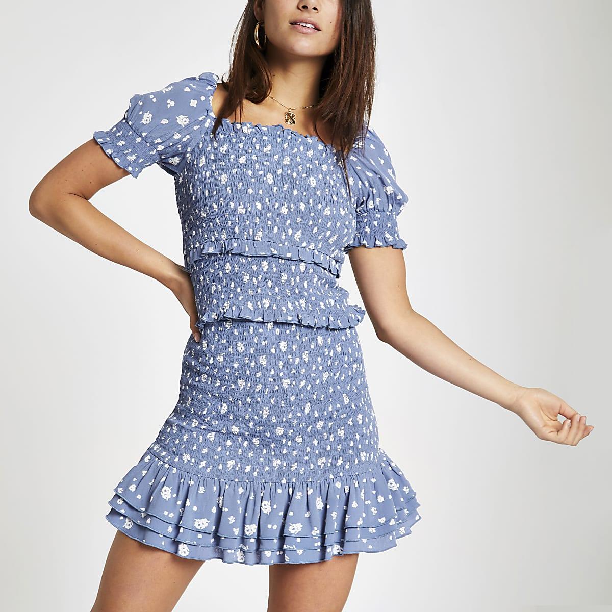 Petite blue spot shirred mini skirt