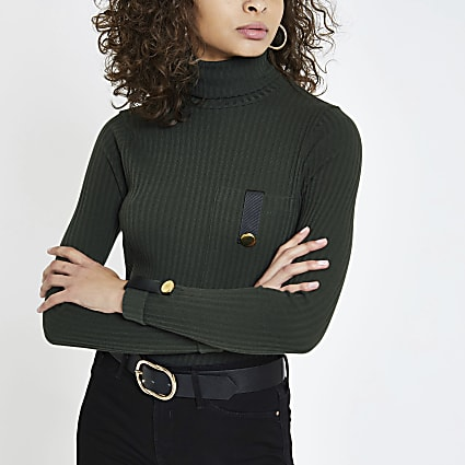 Dark green pocket trim turtle neck top