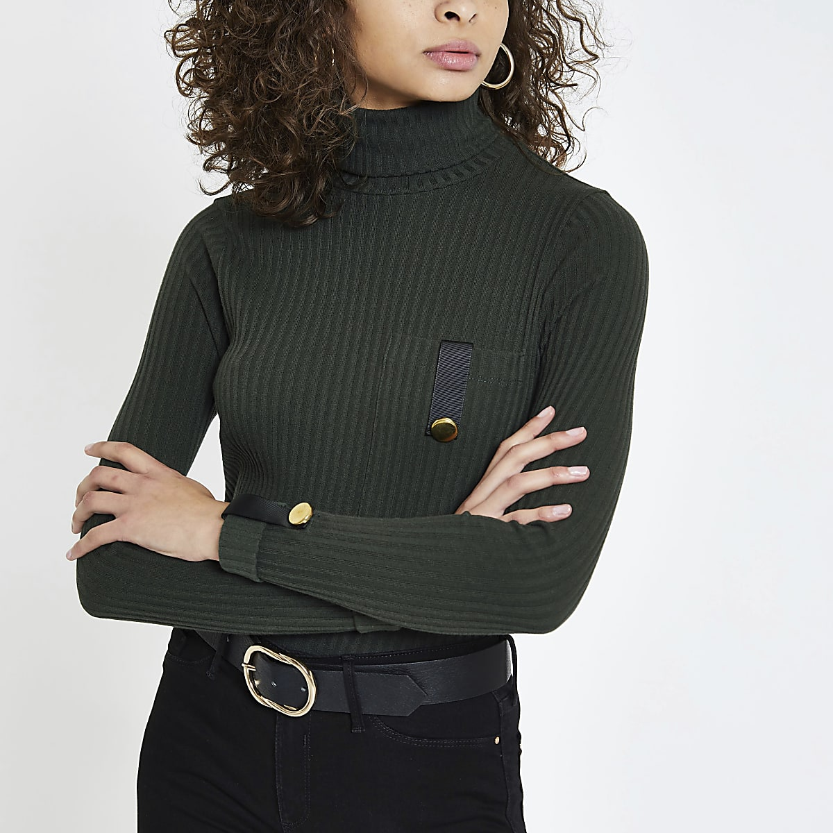 Dark green pocket trim turtle neck top