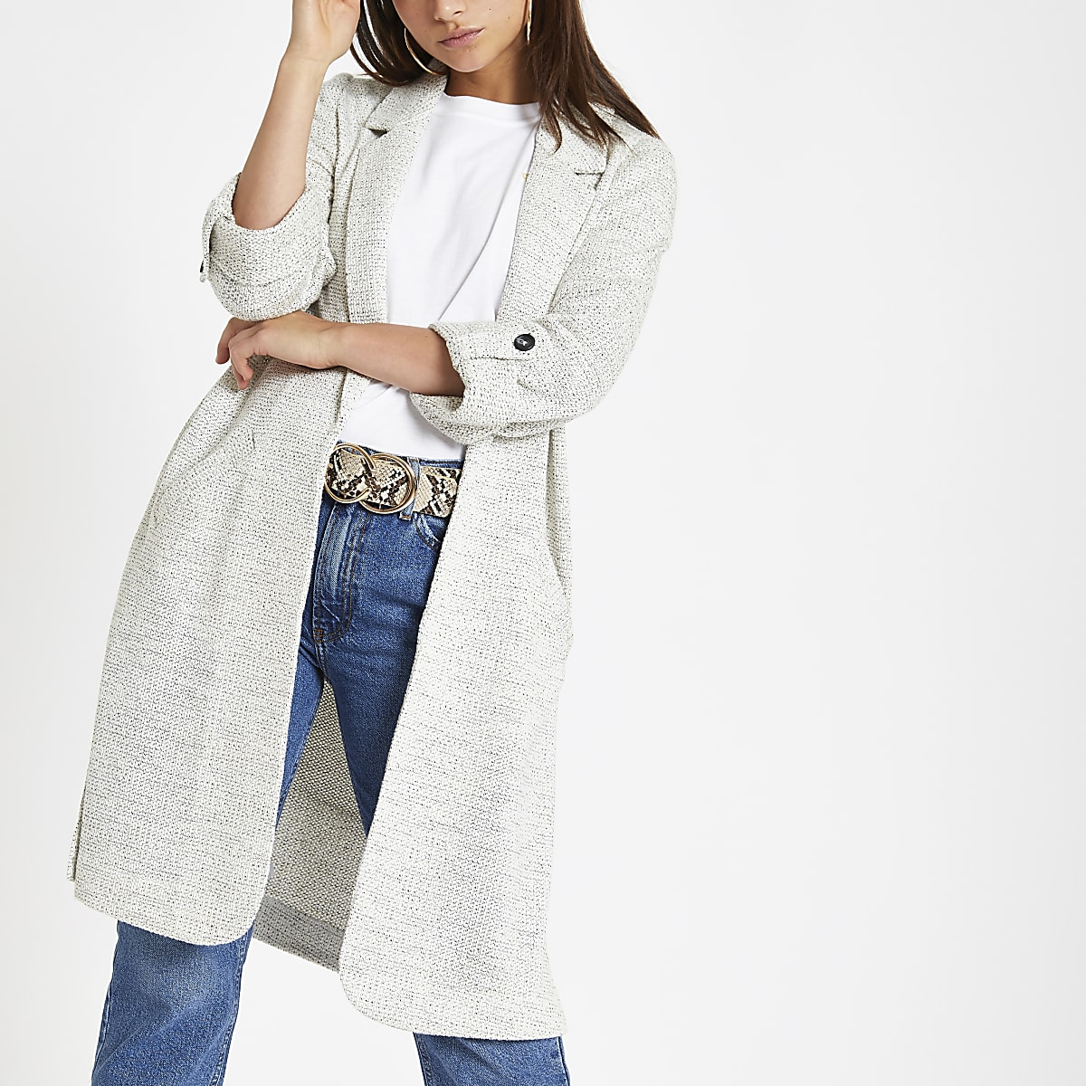Petite cream jersey duster jacket