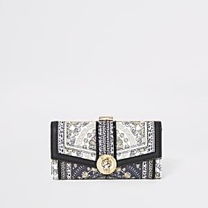 Porte-monnaie à imprimé jaguar noir avec fermoir clip