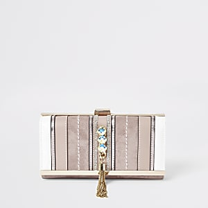 Pink gem embellished fold out purse