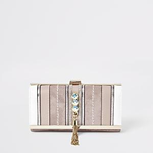 Roze uitvouwbare verfraaide portemonnee met siersteentjes