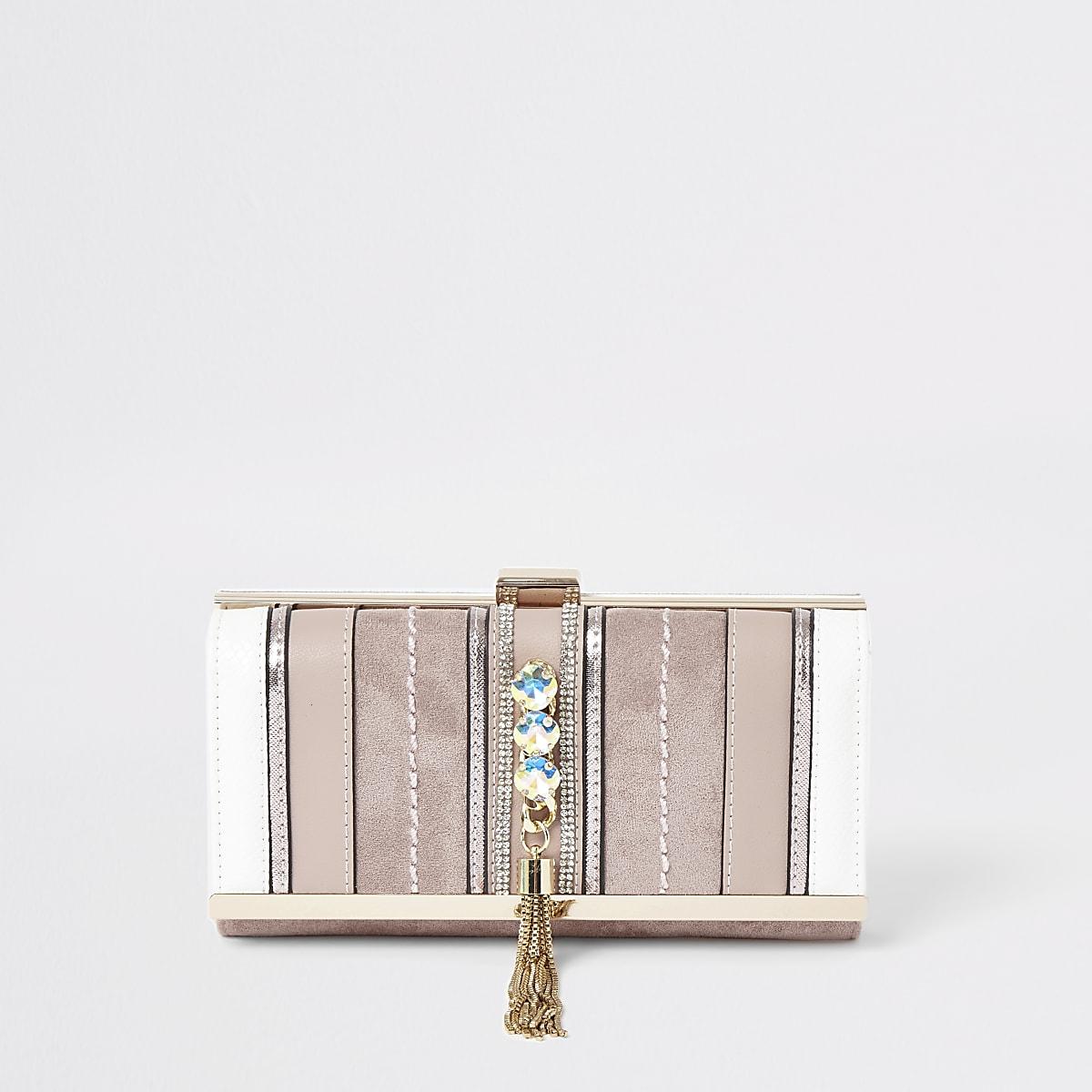 Pink gem embellished fold out purse