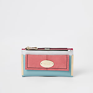 Pink block pocket front fold out purse