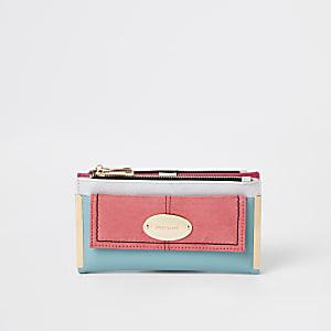 Roze uitvouwbare portemonnee met vak voor