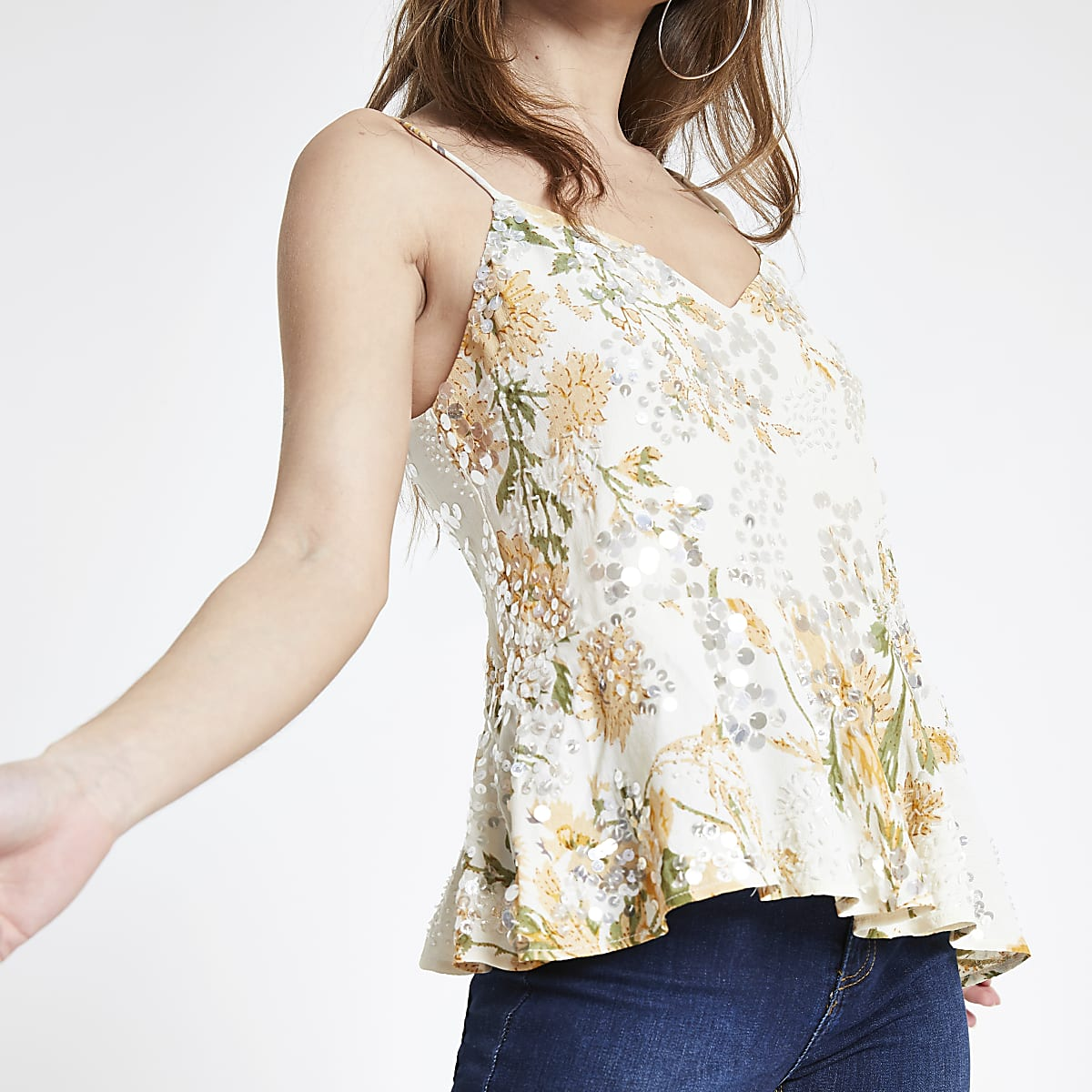 Petite cream floral sequin cami top
