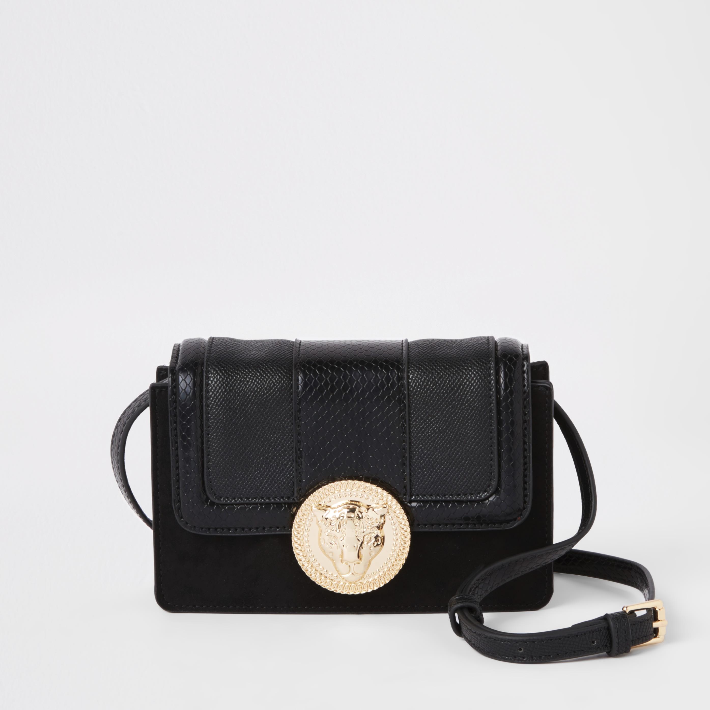 RIVER ISLAND | Womens Black Lion Pendant Cross Body Mini Bag | Goxip
