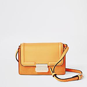 Neon orange mini cross body bag