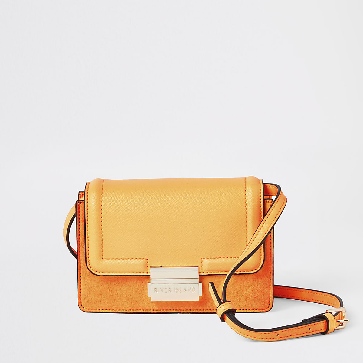 Neon orange mini cross body bag