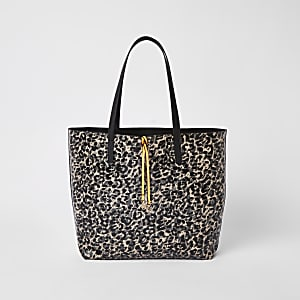 Black leopard print shopper bag
