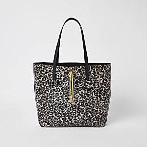 Black leopard print shopper