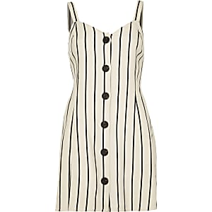 Petite cream stripe tie back slip dress