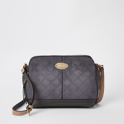 Grey triple compartment cross body bag