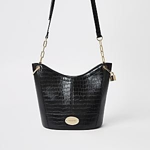 Black cross body bucket bag