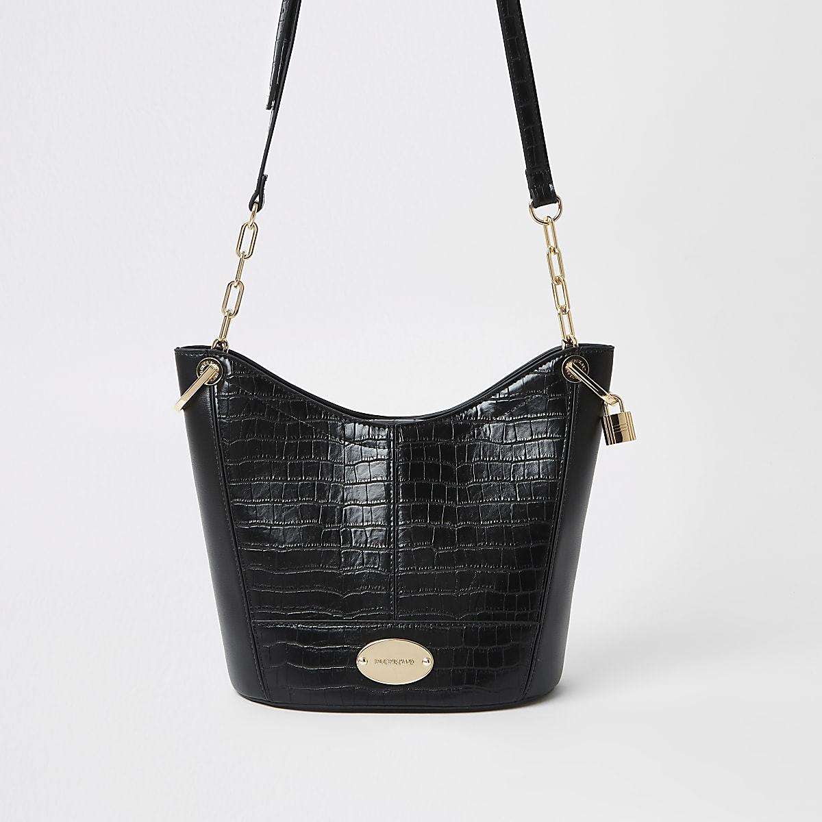 Black cross body bucket bag
