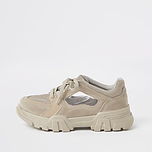 Graue, klobige Sneaker zum Schnüren