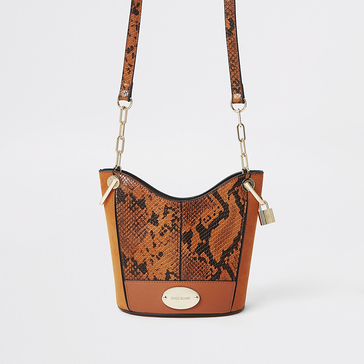 Orange snake print bucket bag