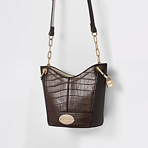 Brown croc embossed bucket bag