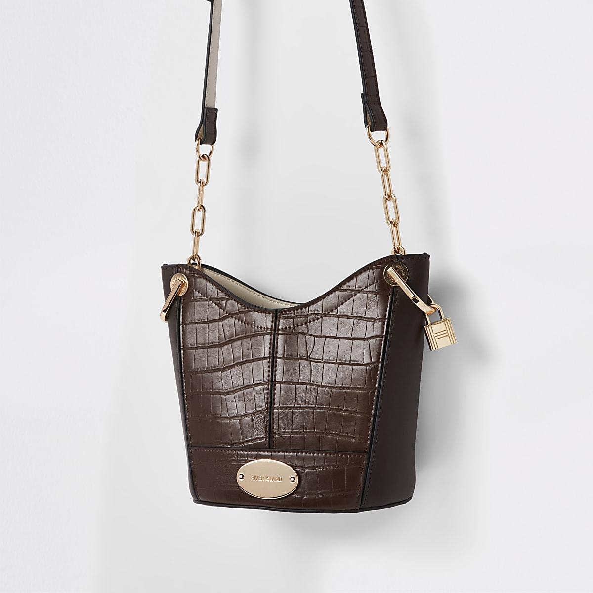 Brown croc embossed bucket bag