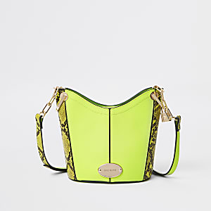Neon yellow snake bucket cross body bag