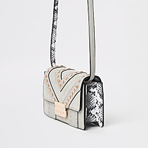Grey stud embellished cross body bag