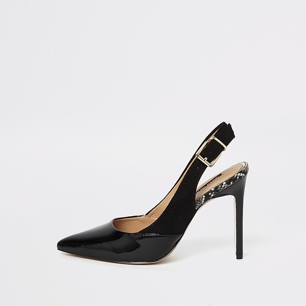 Black pointed toe slingback pumps