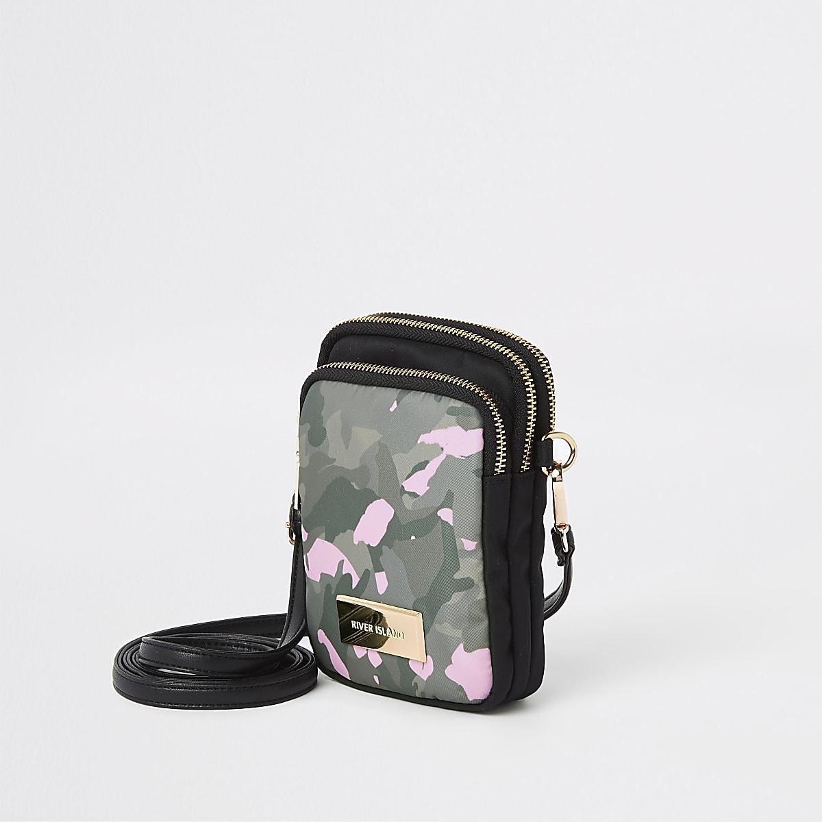 Khaki camo print mini pouch cross body bag