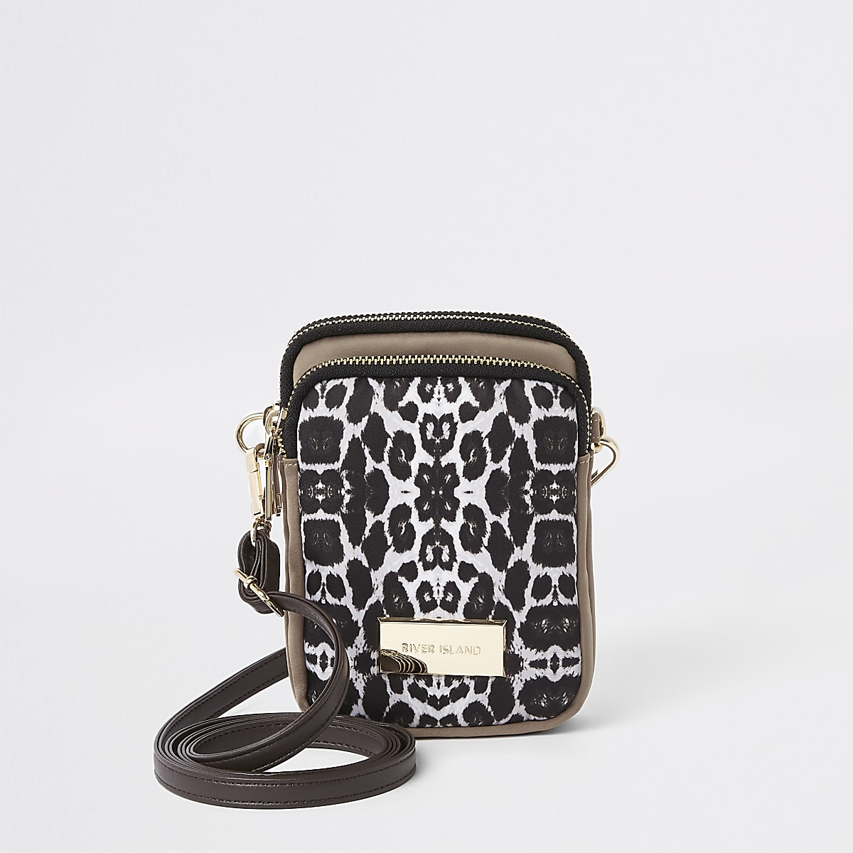 Beige leopard print mini pouch cross body bag