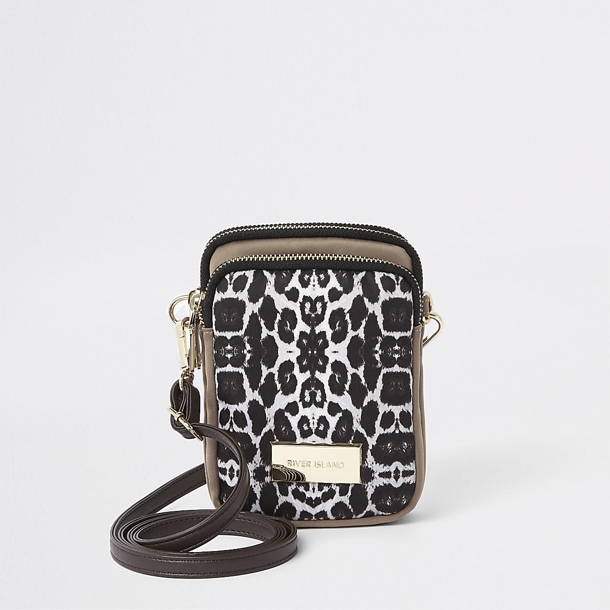 Petite pochette bandoulière à imprimé léopard beige