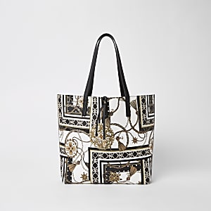 White print beach tote bag