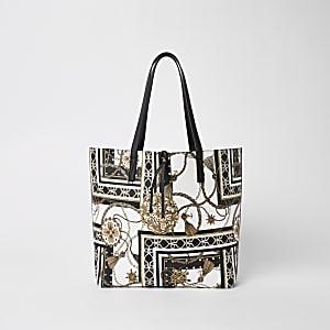 Weiße Tote Bag mit Print