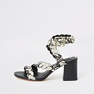 Grey snake studded wide fit block heel sandal