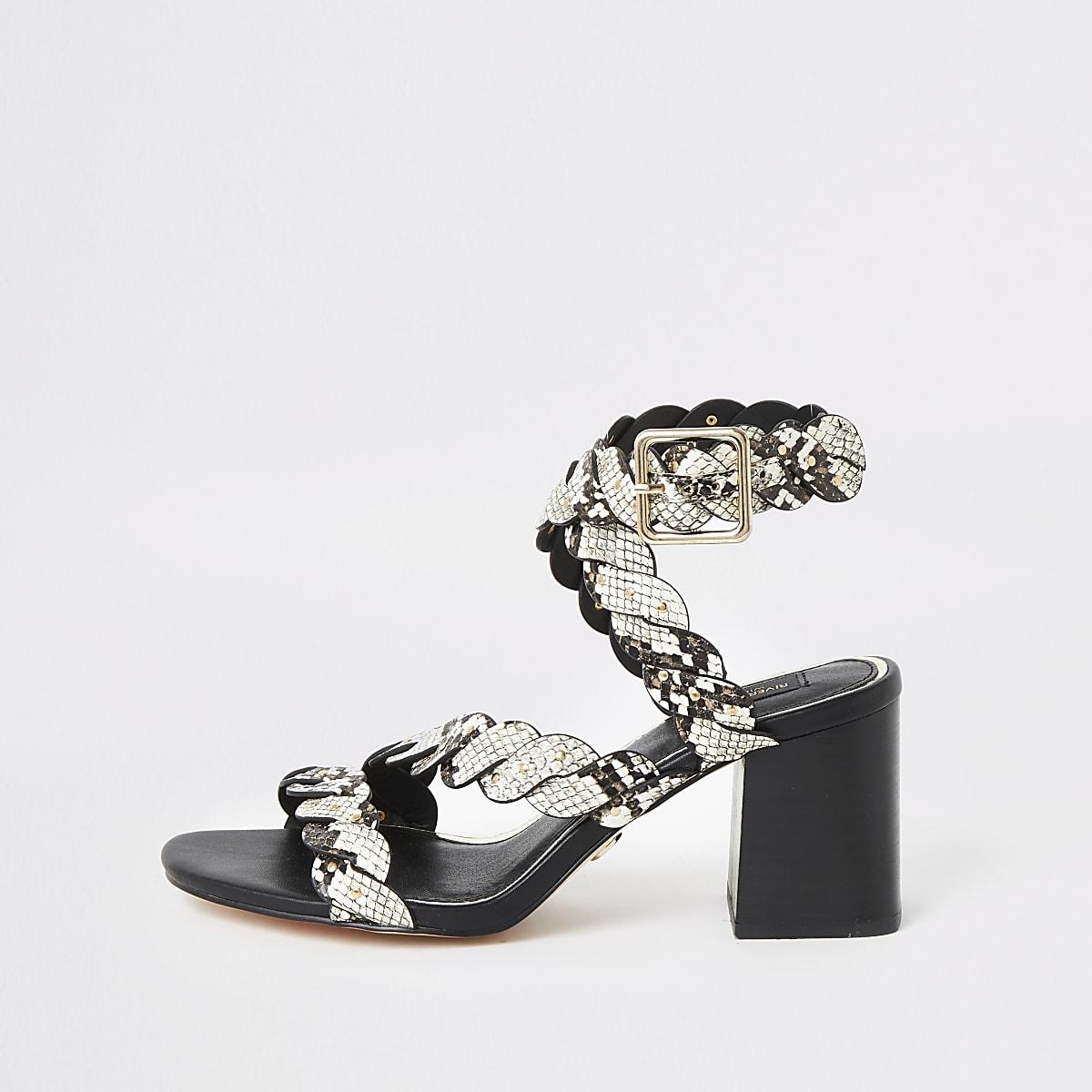 Sandales motif serpent grises à talon carré coupe large