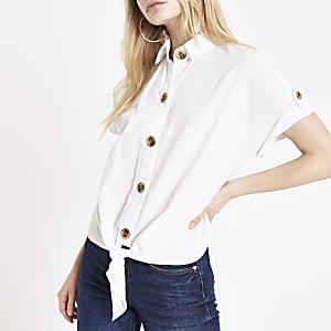 Chemise courte blanche nouée devant
