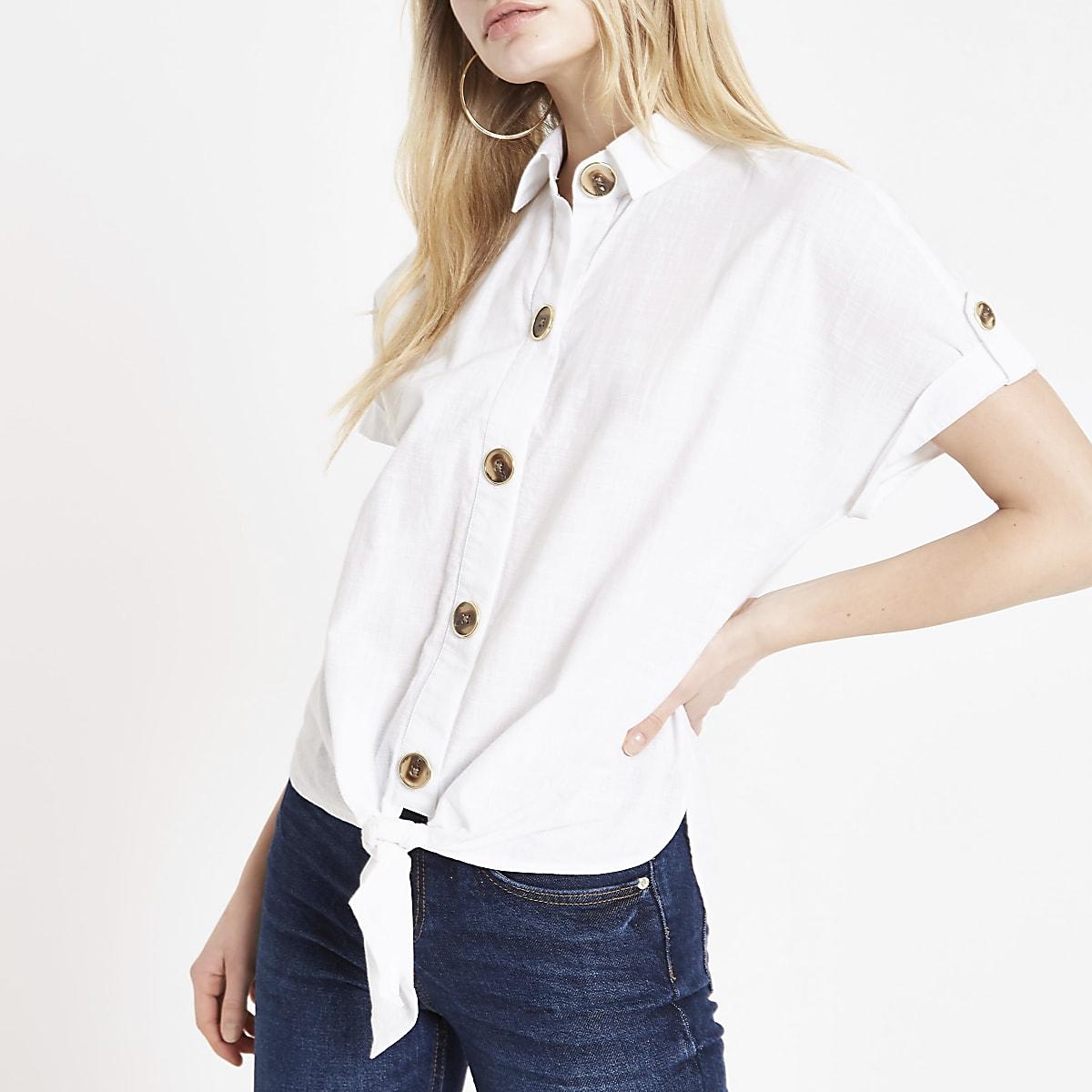 White tie front crop shirt