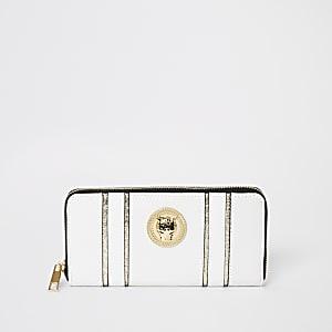 Witte portemonnee met jaguar en rits rondom