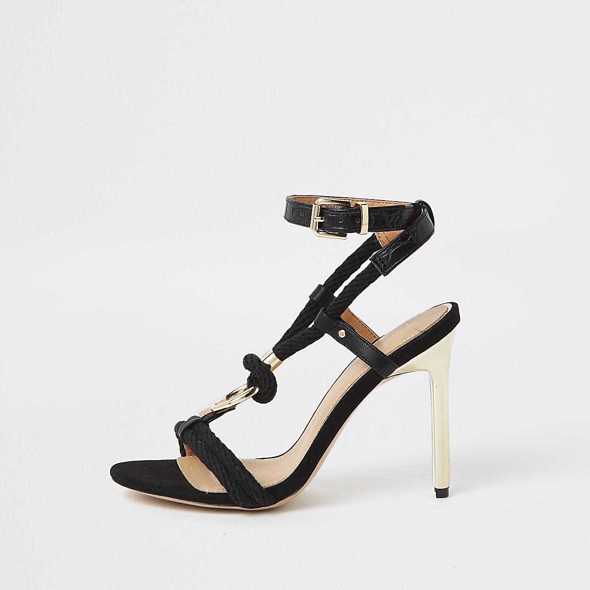 Black rope ring stiletto heel sandals