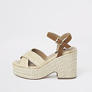 Beige cross strap wide fit espadrille wedges