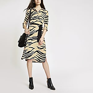 Beige zebra print shirt dress