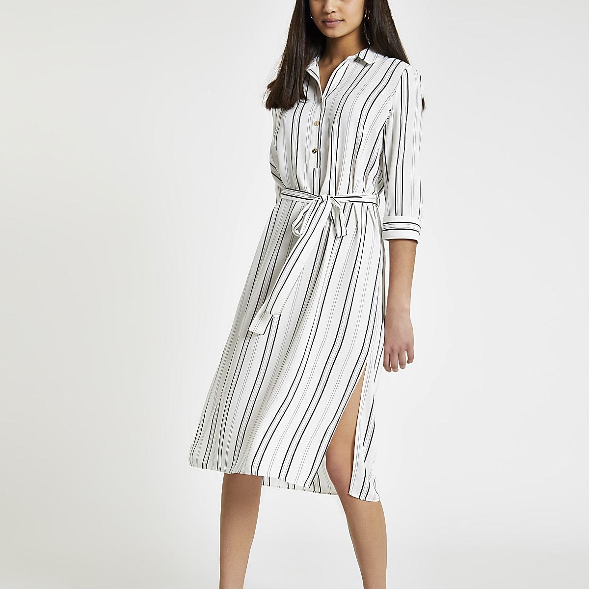 Cream stripe tie waist shirt dress